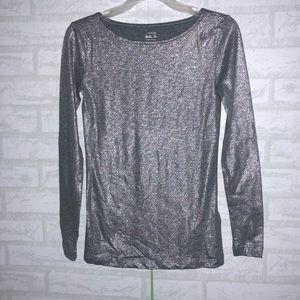Nwt J.crew Metallic Long-sleeve T-shirt sz XXS B0